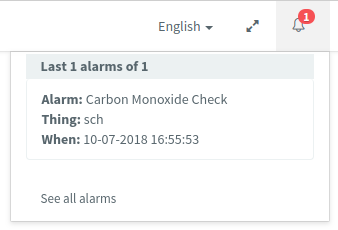 Opened Notification Bell with alarms